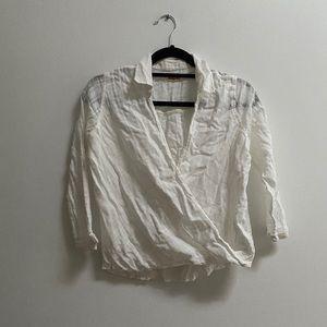 Hollister White Cotton Textured Wrap Shirt